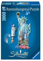 Ravensburger silhouettepuzzel Vrijheidsbeeld New York 1000 stukj