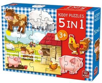 King kinderpuzzel 5 in 1 Boerderij 12 stukjes vanaf 3 jaar
