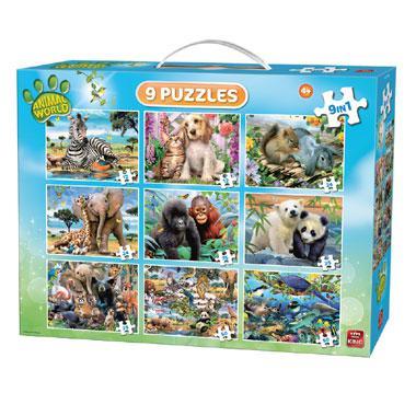 King 9 in 1 puzzel Jungle dieren 50 stukjes vanaf 4 jaar