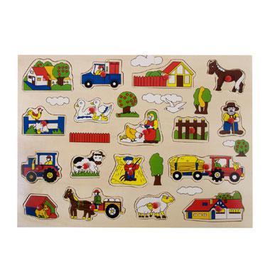 Angel toys houten puzzel boerderij 17 stukjes voor peuters