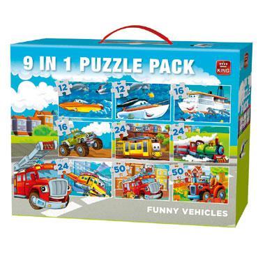 King 9 in 1 puzzel grappige voertuigen 50 stukjes vanaf 3 jaar