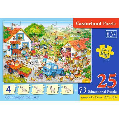 Castorland educatieve puzzel tellen op de boerderij 25 stukjes v