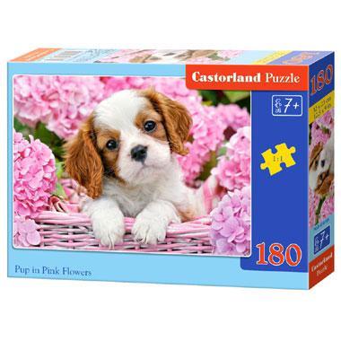 Castorland kinderpuzzel Pup in Roze Bloemen 180 stukjes vanaf 7