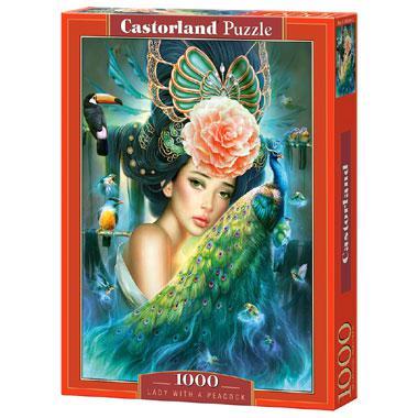Selecta Castorland legpuzzel Vrouw met een Pauw 1000 stukjes