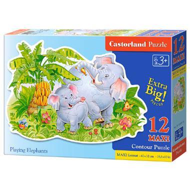 Castorland maxi kinderpuzzel Spelende Olifanten 12 stukjes vanaf