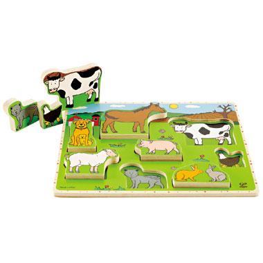 Hape Houten kinderpuzzel de Boerderij 8 stukjes vanaf 3 jaar