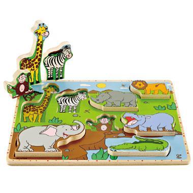 Hape Houten kinderpuzzel Jungle 8 stukjes vanaf 3 jaar