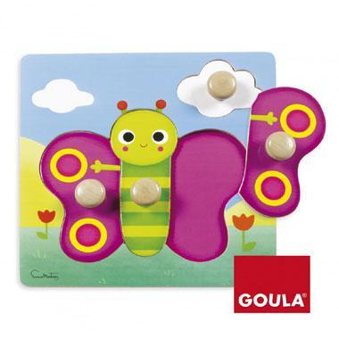 Goula houten noppen puzzel Vlinder 4 stukjes voor peuters
