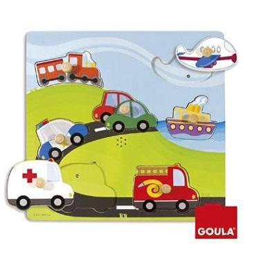 Goula noppenpuzzel met Geluid Voertuigen 7 stukjes vanaf 2 jaar