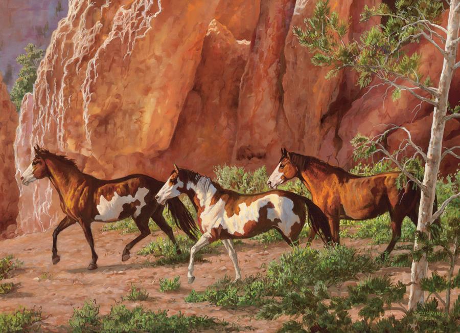 Eureka Cobble hill legpuzzel Paarden in Klif 1000 stukjes