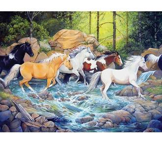 Eureka Cobble hill familie kinderpuzzel Overstekende Paarden 400