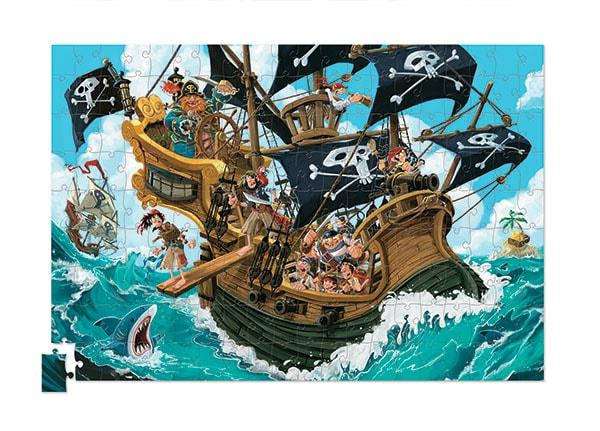Crocodile creek kinderpuzzel Piraat met Poster 200 stukjes vanaf