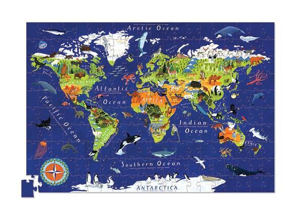 Crocodile creek kinderpuzzel Wereld met poster 200 stukjes vanaf