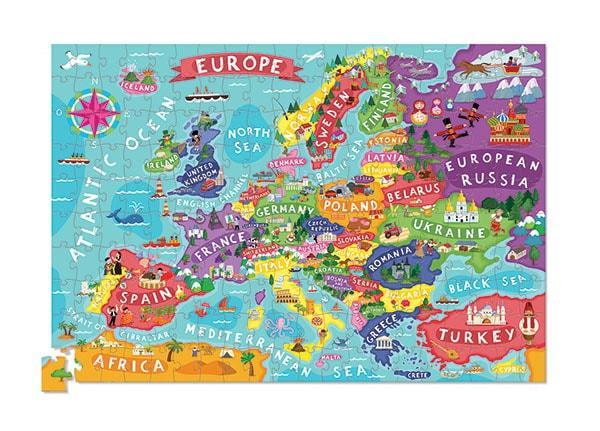 Crocodile creek kinderpuzzel Europa met Poster 200 stukjes vanaf