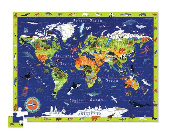 Crocodile creek kinderpuzzel de Wereld met Figuranten 100 stukje