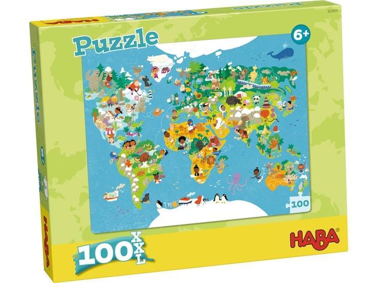 Haba XXL kinderpuzzel Wereldkaart 100 stukjes vanaf 6 jaar