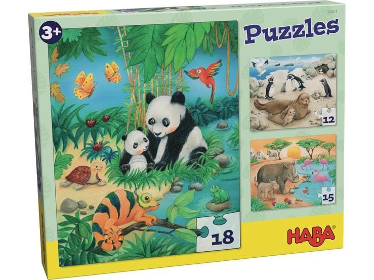 Haba kinderpuzzel Dieren Familie 18 stukjes vanaf 3 jaar