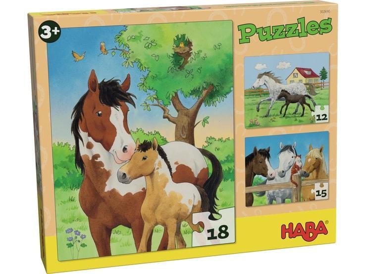 Haba kinderpuzzel Paarden 18 stukjes vanaf 3 jaar
