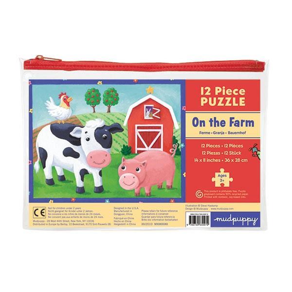 Mudpuppy kinderpuzzel in buidel de Boerderij 12 stukjes vanaf 2