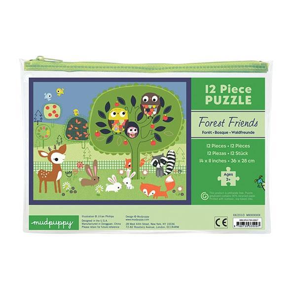 Mudpuppy kinderpuzzel in buidel Bosvrienden 12 stukjes vanaf 2 j