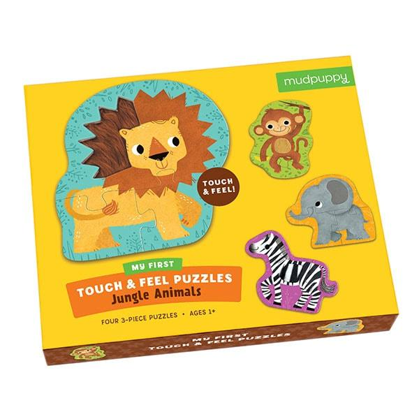 Mudpuppy kinderpuzzel raak en voel jungle dieren 4 stukjes voor