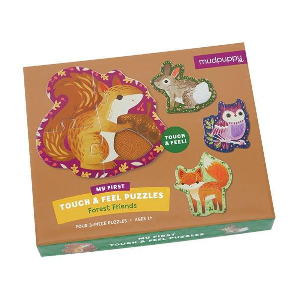 Mudpuppy kinderpuzzel Raak en Voel Bosdieren 3 stukjes voor peut