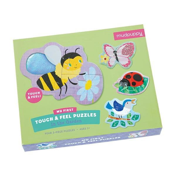 Mudpuppy kinderpuzzel Raak en Voel Tuin Vrienden 3 stukjes voor