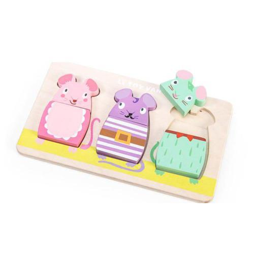 Le toy van puzzel Petilou Muisjes 3 stukjes voor peuters