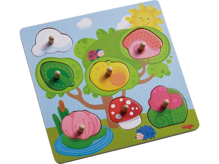 Haba houten kinderpuzzel Dieren Verstoppertje 7 stukjes voor peu