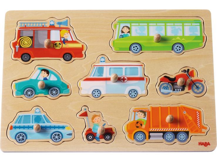 Haba houten inleg kinderpuzzel Voertuig Wereld 8 stukjes voor pe