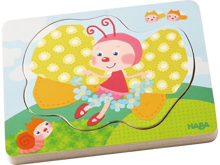 Haba houten inleg kinderpuzzel Vlinder Magie 4 stukjes voor peut