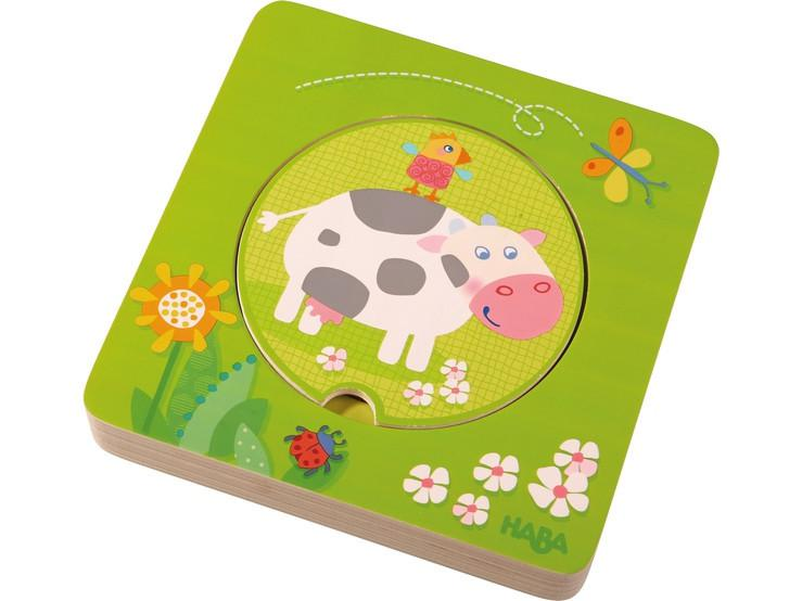 Haba hoouten inleg kinderpuzzel Boerderij Dieren 6 stukjes voor