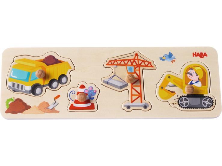 Haba houten inleg kinderpuzzel op de Werf 4 stukjes vanaf 2 jaar