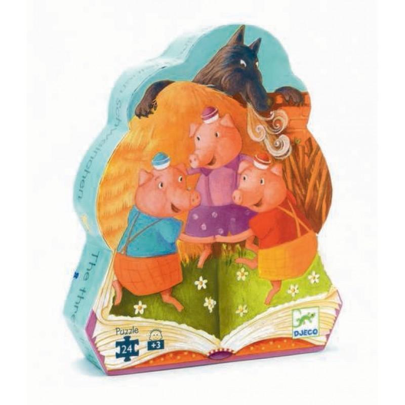 Djeco kinderpuzzel Drie Kleine Biggetjes 24 stukjes vanaf 3 jaar