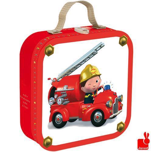 Janod kinderpuzzel in koffer Fleurus Leons Brandweerwagen 16 stu