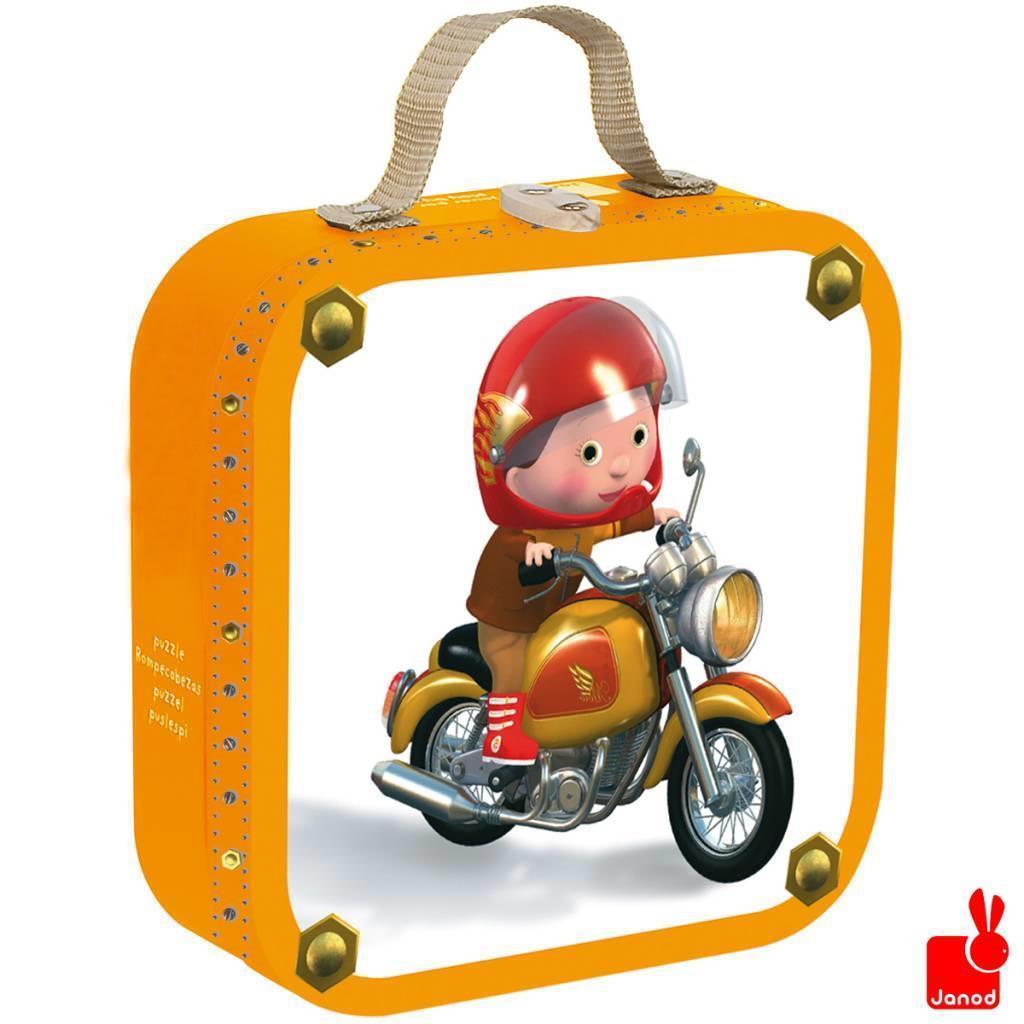 Janod kinderpuzzel in koffer Marcos Motorfiets 16 stukjes vanaf