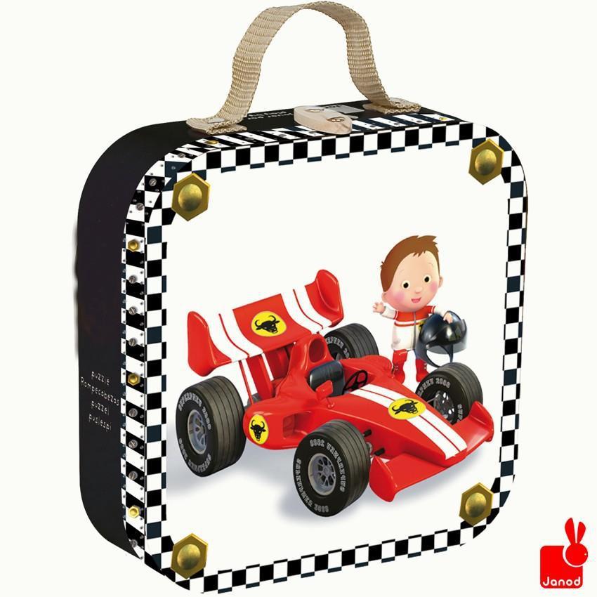 Janod kinderpuzzel in koffer Racewagen 16 stukjes