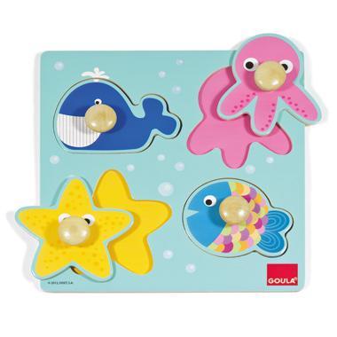 Goula houten kinderpuzzel Zeedieren 10 stukjes voor peuters