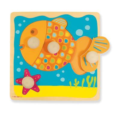 Jumbo goula houten kinderpuzzel met Vis 4 stukjes voor peuters