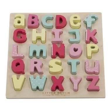 Little Dutch letterpuzzel Pink Blossom 26 stukjes vanaf 3 jaar