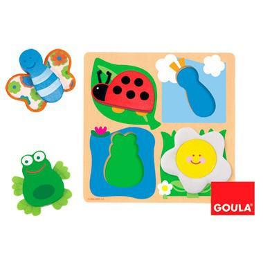 Goula houten kinderpuzzel Platteland 10 stukjes voor peuters