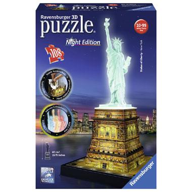 Ravensburger 3D puzzel State of Liberty Night Edition 108 stukje