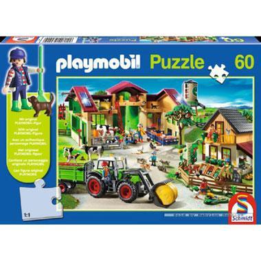 Schmidt Playmobil kinderpuzzel op de Boerderij 60 stukjes vanaf