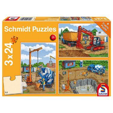 Schmidt kinderpuzzel Op de Bouwplaats 24 stukjes vanaf 3 jaar