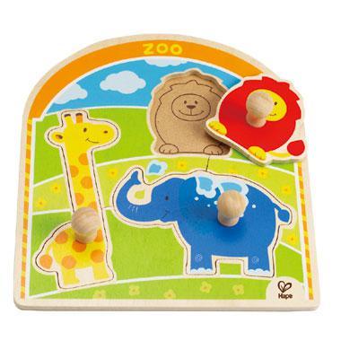 Hape knoppen kinderpuzzel Dierentuin 3 stukjes voor peuters