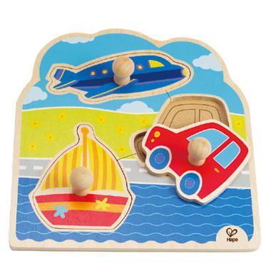 Hape knoppen kinderpuzzel op Reis 3 stukjes voor peuters
