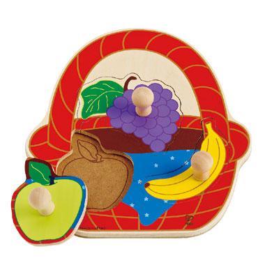 Hape knoppen kinderpuzzel Fruitmand 3 stukjes voor peuters