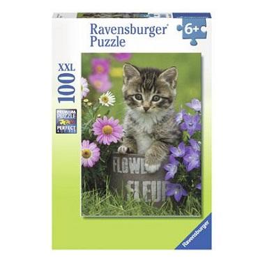 Ravensburger XXL kinderpuzzel Poesje tussen de Bloemen 100 stukj