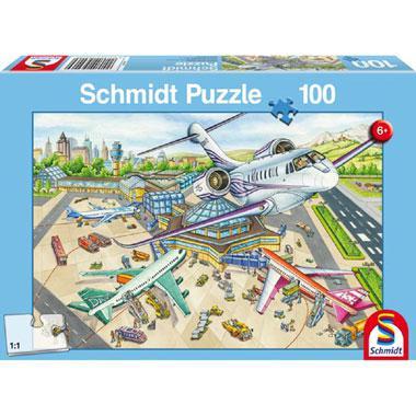 Schmidt kinderpuzzel Een dag op de luchthaven 100 stukjes vanaf