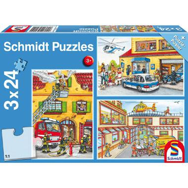 Schmidt kinderpuzzel Brandweer en Politie 24 stukjes vanaf 3 jaa